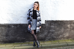Sofie Rome - Jbc Checked Coat, Wrap Skirt, Promod Black Boots - Checked coat