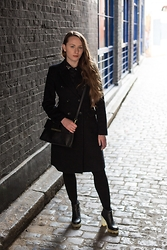 Nicola HM - Topshop Jewelled Collar Shirt, Zara Black Coat, Topshop Bag, Carolyn Donnelly The Edit Clear Block Heel Black Boots - +Blackout+
