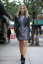 Ashley - Nasty Gal Moto Jacket, Nasty Gal Leather Dress, Asos Pony Hair Booties - Leather Leather Leather