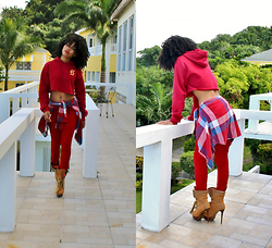 Natasha Lee - Slang Teez Cropped Sweater, True Religion Red Pants - CROPPED
