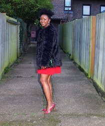 Abi Ogun - Light In The Box Coat, H&M Dress - Little Red Dress