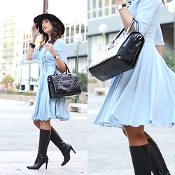 Silvia Rodriguez - Cacharel Dress, Massimo Dutti Boots, Zara Hat - LADY DRESS WITH HAT