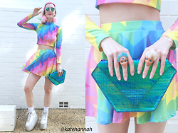 Kate Hannah - Minga London Rainbow Co Ord (Top), Minga London Rainbow Co Ord (Skirt), Maude Studio Diamond Bag, Yru Qozmo Hi Platform Sneakers, Frothlyf Lucidity Kaleidoscope Glasses, Chip The Teacup Big Fluffies Pastel Pink, Cut Throat On The Street Barbie Rings - ~PRISMATIC~