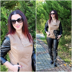 Rebel Takipte - Jacket, Lovelywholesale Boots - Leather and Suede