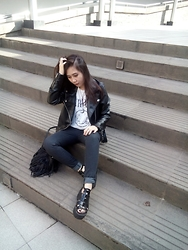 Michella Georgia - H&M Fringe Bag, Forever 21 Leather Jacket, H&M Nirvana Tee, Forever 21 Grey Jeans - Not A Basic B*tch