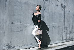 Jessi Malay - Faith Connexion Leather Off The Shoulder Jacket, Misha Collection Sona Cigarette Pants, Fendi By The Way Bag, Fallon Leather Wrap Choker - Faith Connexion