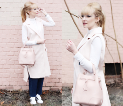 Chloe From The Woods - Furla Pink Bucket Bag, Cos Pink Blazer, Zerouv Super Clear Transparent Crystal Frame Horned Rim Glasses - SYNTHESIZED PINK