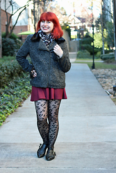 Jamie Rose - Croft & Barrow Leopard Print Circle Scarf, Forever 21 Gray Boucle Wool Coat, H&M Maroon Skater Skirt, Leopard Print Tights, Boohoo Black Pointed Cutout Boots - Wool Coat and Double Leopard