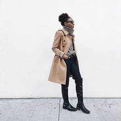 Nkenge Brown - J. Crew Trench Coat, Cole Haan Over The Knee Boots - Camel