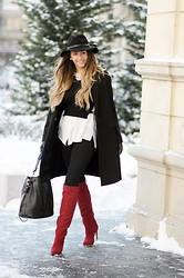 Manuella Lupascu - Jessica Buurman Over The Knee Boots, Shopbop Hat - Wine red for the all white background