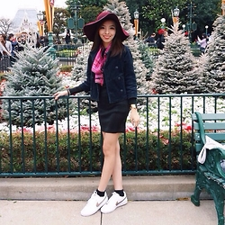 Mary Agdon - H&M Hat, Bangkok Market Scarf, Five Foxes Co (From Japan) Coat, H&M Dress, Nike Sneakers - Maroon Sporty