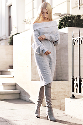 Krist Elle - Wholesale7 Gray Knitted Dress Sweater - Cozy sweater dress