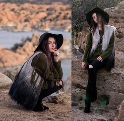 Shelly Stuckman - Chic Wish Super Star Dip Dyed Faux Fur Vest, Others Follow Stella Sweater, Skechers Black Booties, Forever 21 Green Floppy - Furever Love
