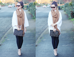 Jen Lou M - Zerouv Faux Tortoiseshell Sunglasses, Topshop Camel Scarf, Missguided White Knitwear, Asos Giraffe Print Clutch, Boohoo Leggings, Public Desire Lace Up Heels - Roman Candle of the Wild