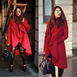 Surbhi Suri - She.In Overcoat, Koovs Leggings, Pinkbasis Mules, Kenneth Cole Bag - Waterfall Burgundy Over Coat