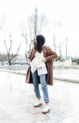Alex Closet - Sezane Coat, Puma Shoes - Edgy beige