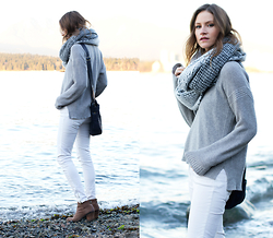 Alison Hutchinson - Madewell Sweater, Dynamite Scarf, Zara Jeans, One Fated Knight Bag, Vince Camuto Boots - Bundled at the Beach
