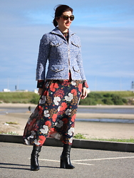 Teresa Leite - Tany Couture Denim Jacket (Self Made), Zara Flower Print Maxi Dress, Zara Black Booties - The Couture Denim Jacket