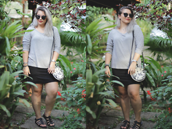 Crystal Spinelli - Checklist Grey Cotton Sweater With Sparkles, H&M Black Skirt, Zaful Black Sunglasses, Disney Alice In Wonderland's Bag, Melissa Black - Black + grey + Autumn