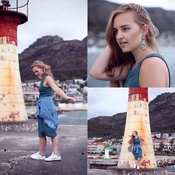 Meira Friedland - Lovisa Earrings, Cotton On Teal Dress, Cotton On Denim Shirt, Adidas Stan Smith Sneakers - Teal In The Harbour
