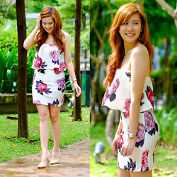 Jannelle O. - Bottomline Clothing Floral Dress, Tonic Nude Heels - Realizations
