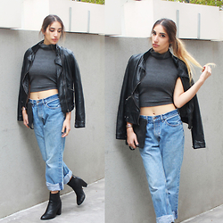 Karen Or - Brandy Melville Usa Top, Zara Jacket, Castro Boots - Boyfriend Jeans and a Leather Jacket
