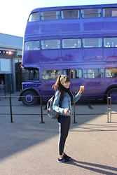 Marina Minassian - British Museum Backpack, Nike Sneakers - Knight bus and butter beer