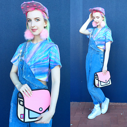 Kate Hannah - Batoko Hologram Printed Tee, Jumpfrompaper 'Giggle' Satchel, Chip The Teacup Pink Fluffy Earrings, Lazy Oaf Cap - ~PASTEL HOLOGRAM~