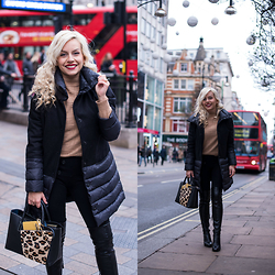 Eleonora Petrella - Ventifive Black Coat - Oxford Street with my fav black coat – London