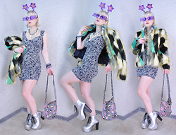 Suzi West - Party City Novelty Headboppers, Party City Novelty Glasses, Rocket Studio Art Abstract Earrings, Holly Gordon's Pro Wardrobe Necklaces, Re:Named Multi Coloured Faux Fur Jacket, Forever 21 Leopard Bodycon Club Dress, Holly Gordon's Pro Wardrobe Bracelets, Harajuku Lovers Cross Body Bag, Jeffrey Campbell Shoes Silver Lita Boots - 31 December 2015