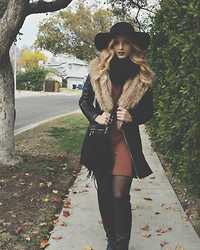 Caitlynn Lawson - Black Floppy Hat, Abercrombie & Fitch Rust Colored Dress, Black Infinity Scarf, Mossimo Black Patterned Tights, Marc Fisher Black High Leather Boots, Fringe Bag, Nordstrom Black Peacoat With Fur - Layer Up Butter Cup