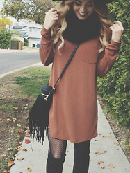Caitlynn Lawson - Abercrombie & Fitch Rust Colored Dress, Mossimo Black Patterned Tights, Marc Fisher Black High Leather Boots, Asos Black Infinity Scarf, Fringe Bag - Layer Up Butter Cup