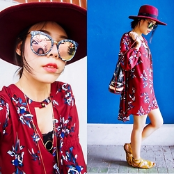 B @Style Voyage - Shein Oxblood Floral Dress, Diane Von Furstenberg Gladiator Sandals, Zara Gold Layering Necklace - Oxblood & Floral