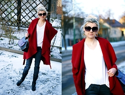 Kamila Krawczyk - Sheinside Coat, Sheinside Top, United Colors Of Benetton Pants, Vintage Bag, Lovelywholesale Boots, Stradivarius Sunglasses - Red wine waterfall coat