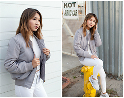 Atsuna Matsui - Hot Miami Styles Ice Gray Bomber Jacket, Savage Sevigny Top, Topshop Moto White Jamie Jeans, Nike Metallic Roshe One - Sliver of Silver
