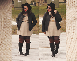 Katie - Wide Brim Hat, Faux Leather Jacket, Sweater Skater Dress, Over The Knee Boots - Sweater Dress Weather