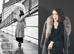 "Ama Hatheway - Grey ""Faux Fur"" Collared Coat, Black Turtleneck, Black Maxi Skirt Cotton - Artist Collab 2016: Pt.I"