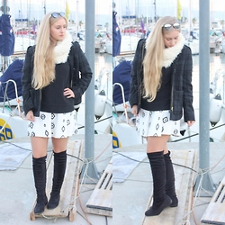 LucciaC - Boots, Zara Skirt, H&M Coat, Bershka Black, Zara White - White seduction