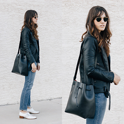 Tonya S. - Bag Inc. Bucket, Azalea Faux Leather Jacket, Levis 501 Ct Levi's, Jeffrey Campbell Oxford - Black Basics