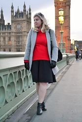 Elizabeth Claire - Forever 21 Grey Coat, Jcpenny Red Turtleneck Jumper, Oasis Black Suede And Leather Hobo Bag, Zara Black Knit Midi Skirt, Candies Black Chelsea Boots - Look Kids, Big Ben!
