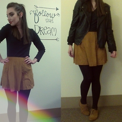 Kayla à la mode - Leather Jacket, Long Sleeve Tee, Skirt, Tights, Oxfords - FOLLOW THAT DREAM