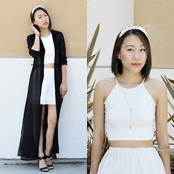 Amy Lai - Cat Ears, Diy Necklace, Diy Crop Top, Thrifted Long Cardi, Pink Basis Pleated Skirt - Meow.