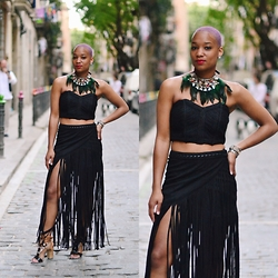 Nia Groce - H&M Suede Fringe Skirt, H&M Strapless Top, Sam Edelman Lace Up Beaded Sandals - Barcelona Birthday