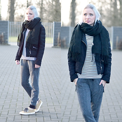 Nena F. - The Kooples Jacket, Superga Sneakers, Topshop Scarf, Cos Stripe Top - Comfy & Warm