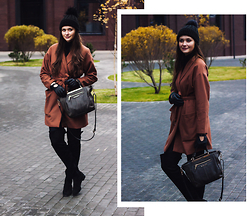 Anya Prosto - Selected Coat, Sisley Bag, Topshop Hat, Asos Over The Knee Boots - Moscow Winter