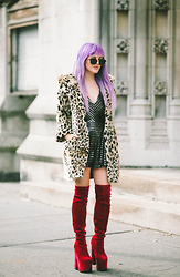 Rachel Lynch - Christian Dior Aviators, Asos Leopard Jacket, Silver Slick Playsuit, Red Velvet Boots - Be careful what you set your heart upon
