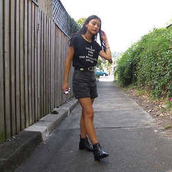 Isabella Loong - Asos Black Leather Studded Boots, Asos Black Denim Shorts - Can we go thrift shopping?
