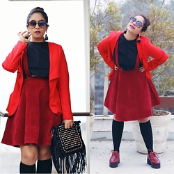 Surbhi Suri - Stalkbuylove Red Blazer, Stalkbuylove Dungarees, H&M Knee High Socks, Blur Shoes Oxfords, Oasap Tassel Bag, Christian Dior Sunnies - Brunch Look