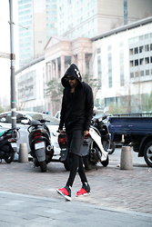 INWON LEE - Byther Jacket, Y3 Shoes - Black and white cross