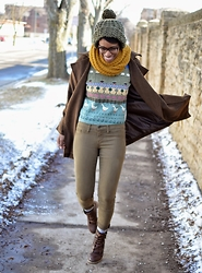 Sushanna M. - Warby Parker Dark Brown Ombre Prescription Glasses, Textured Mustard Scarf, Oversized Brown Coat, Thrifted Vintage Animal Pattern Sweater, Thrifted Olive Skinny Jeans, Dark Brown Buckled Zippered Ankle Boots - A Tortoise In The Garden